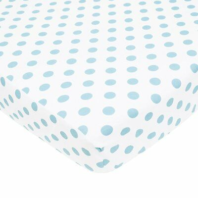 TL Care 100% Cotton Flannel Fitted Crib Sheet, Blue Dot, White with Blue Dot, x