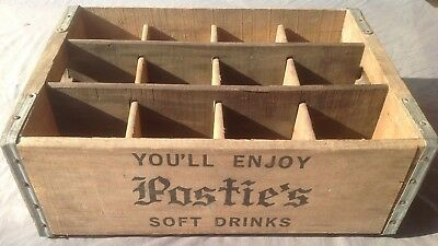 Vintage Postie's Soft Drink Soda Advertising Wood Crate 12 Slot Miller Mfg Co.