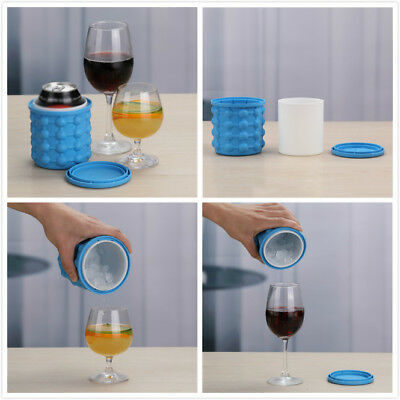 Magic Silicone Ice Cube Maker Genie Space Saving Kitchen Ice Bucket Summer Beach
