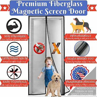 Premium White Magnetic Screen Door With Grey Fireproof Fiberglass Mesh | Fit