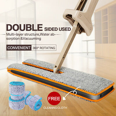 360 Degrees Double-Sided Flat Mop Hands-Free Washable Home Cleaning Tool