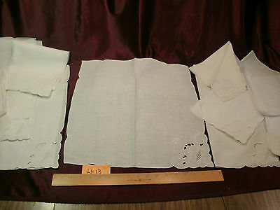 "2 STUNNING SETS Vtg CUT WORK LINEN PLACE MATS-(12) 19""x13"" &(10) 17.5""x16""-lt13"