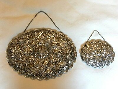 Pair of 900 & 925  Silver Turkish Repousse Wedding Mirrors