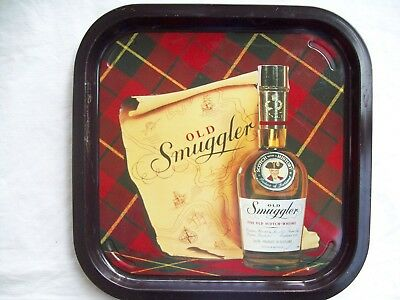 Vintage Old Smuggler Scotch Whiskey Metal Drinks Tray.