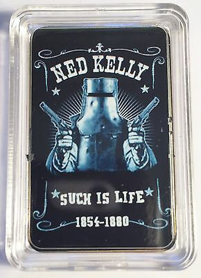 """""""NED KELLY"""" #1 Such Is Life Colour Printed HGE 999 24k Gold Ingot/token"""