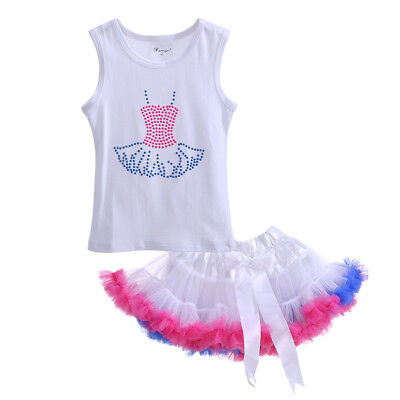 Baby Girls T-shirt Top + Tutu Skirt Set Toddler Kids Summer Outfit Party Dance