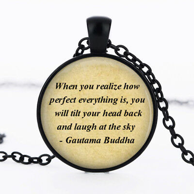 Buddha photo dome Black Cabochon Glass Necklace chain Pendant