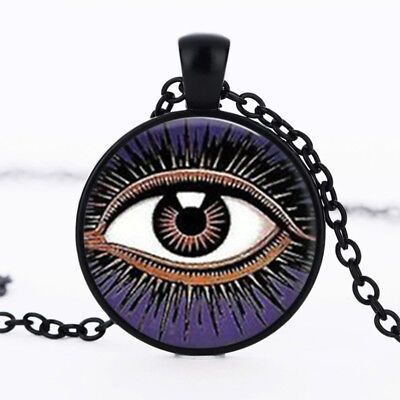 Mystic Eye of Horus photo dome Black Cabochon Glass Necklace chain Pendant