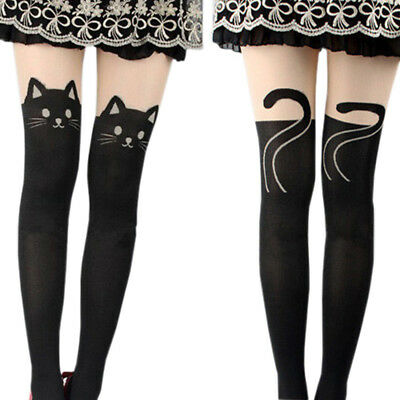 LK_ Cute Black Tattoo Long Socks Sheer Cartoon Cat Pantyhose Stockings Tights