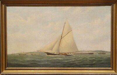 Fine Large 19th Century English Yacht Ship Sailing Harbour Antique Oil Painting