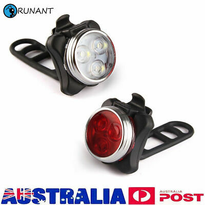 IPX4 Bicycle Bike Lights Front Rear Tail Light Lamp USB Rechargeable Waterproof