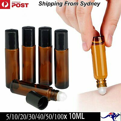 5-100X 10ml Amber THICK Glass Roller Bottles Plastic Roll On Ball Essential Oils