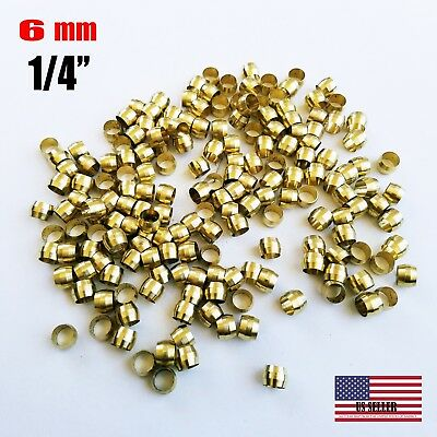 "30 PCS - Brass Compression Sleeve, Tube OD 1/4"" ( 6 MM)"