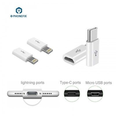 Android Micro USB To iPhone 5 6 7 8 X Lightning Type-C Adapter Charger Converter