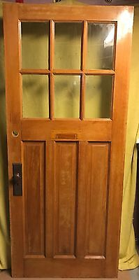 Antique Craftsman Exterior Wood French Entry Door /w Glass 34x80 /w NO Hardware
