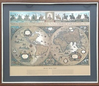 Vintage Blaeu Wall Map Gold Foil Map of World Framed & Glazed VGC