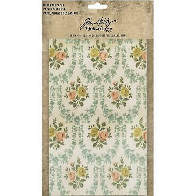 Tim Holtz Idea-Ology Surfaces - Worn Wallpaper - 24 Sheets