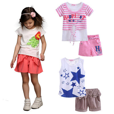 Baby Girls T-shirt Top and Shorts Set Toddler Kids Stripe Star Summer Outfit