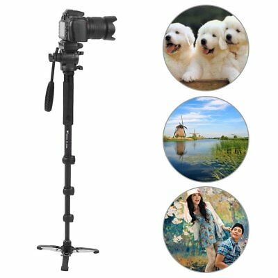Extendable Monopod Tripod Unipod Fluid Head Holder Travel DSLR Camcorder Video D