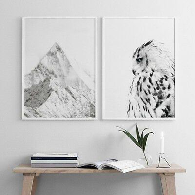 Unframed Owl Mountain Minimalist Canvas Poster Painting Wall Bedroom Decor Grand