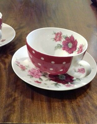Two x Laura Ashley Red & White polka dot and floral Tea Cups&Saucers, in VGC