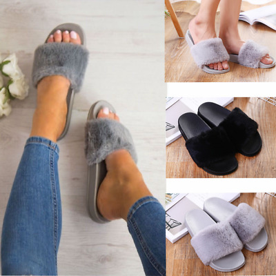 Ladies Womens Flats Faux Fur Fluffy Sliders Slippers Comfy Sandals Flip Flop AU