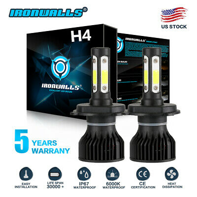 CREE H4 HB2 9003 1800W 270000LM 4-Sides LED Headlight Kit Hi/Lo Power Bulb 6000K