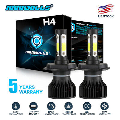 CREE H4 HB2 9003 2500W 375000LM 4-Sides LED Headlight Kit Hi/Lo Power Bulb 6000K