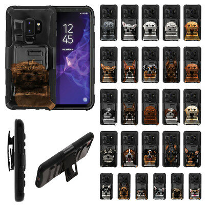 """For Samsung Galaxy S9 Plus 6.2"""" Dog Design Holster Hybrid Hard Rubber Case Cover"""