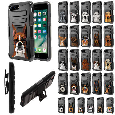 For Apple iPhone 8 Plus / 7 Plus 5.5 inch Dog Design Holster Hybrid Case Cover