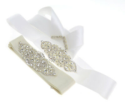 Sparkle Bridal Wedding Dress Belt Sash Party Skirt Crystal Ribbon Tie Accessory