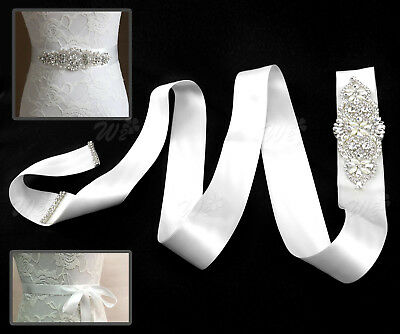 Women Bridal Dress Belt Crystal Rhinestone Wedding Dress Sash Party Ribbon White