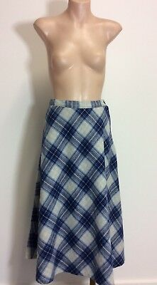 ❤ Vintage 1970s Blue Grey Checked Wool Blend A-line Skirt - Sz 6