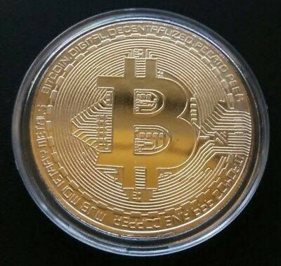 1 Oz GOLD PLATED PROOF BITCOIN. Collectable Art Coin. Great Novelty Gift.