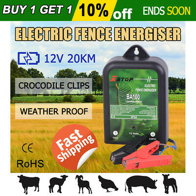 New 20km 12V Range Electric Fence Energiser Power Charger Poly Wire Tape Posts