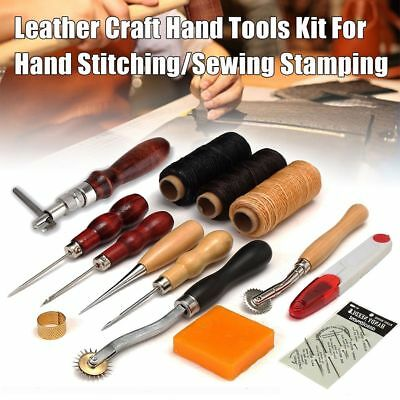 Leather Craft Tools Kit Set For Hand Stitching Sewing Punch Carving Stamp Use