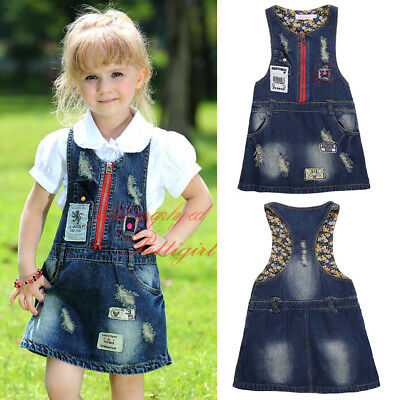 Girls Dungaree Pinafore Dress Kids Sleeveless Casual Holiday Denim Dresses