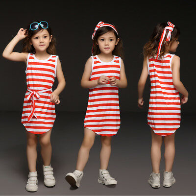 Baby Girls Stripe Mini Dress Toddler Kids Sleeveless Beach Casual Vest Tank Top