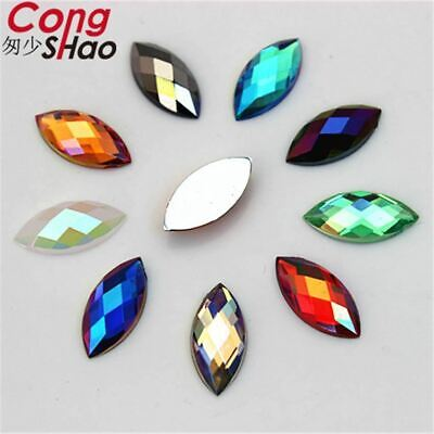 300PCS 7*15mm AB Colorful Horse eye flatback Acrylic rhinestone trim stones and