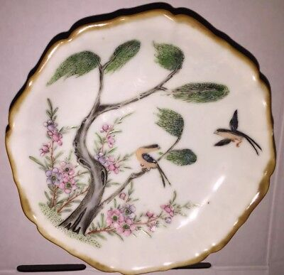 Antique Chinese Qing Dynasty Famille Verte Porcelain Footed Plate / bowl 18th C