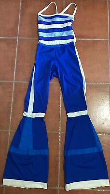 Rave Party & Festival Wear  Lycra Jumpsuit Outfit Blue and White