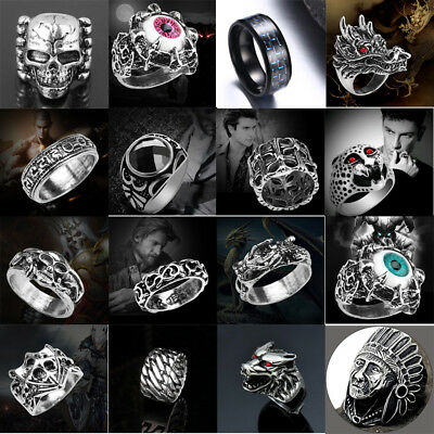 Mens Rings Stainless Steel Steam Punk Ring Gothic Rings Cool Skull Men's Jewelry