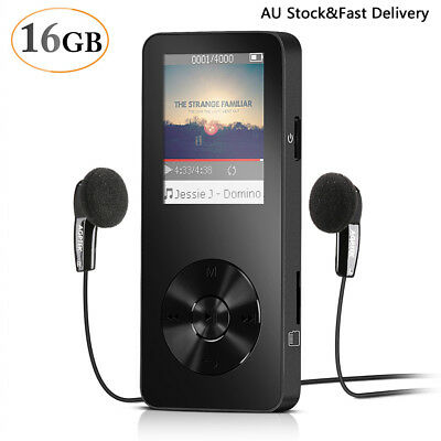 AGPTEK 16GB MP3 Player(Expandable Up to 128GB)/Voice Recorder/FM Radio M28 Black
