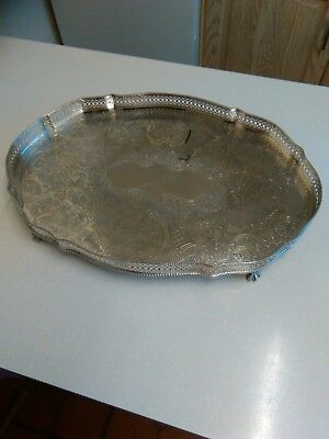 """Late Victorian Silver Plated Galleried Tray with Ball & Claw Feet 18"""" Long (691)"""