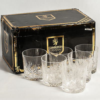 Star of Edinburgh Vintage Crystal Boxed 6 Old Fashioned Whisky Glasses Signed