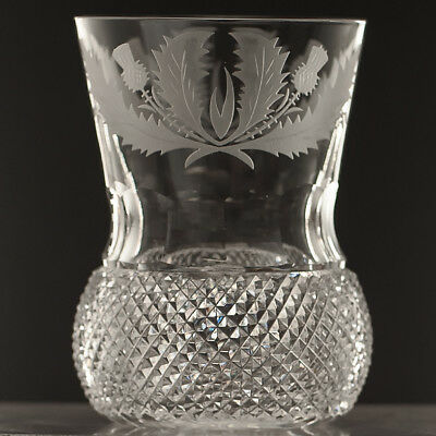 Edinburgh Crystal Etched THISTLE Tall 10 oz Whisky Glass Oval Script Mark