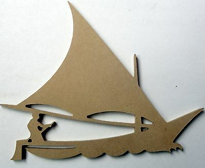 Folk Art Wooden Shape - 1 Sailing Ship And Sailor