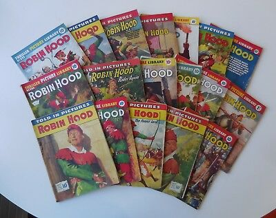 LOT 18 x ROBIN HOOD Vintage Comics 1950s THRILLER PICTURE LIBRARY Told In Pics