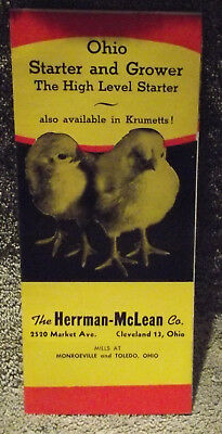Hermann -McLean Co. Starting & Growing Chick Feed Brochure - NM -  New Old Stock
