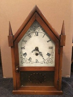 Vintage Antique Germany Endura Wood Cathedral Clock Eight-Day Wind Up Mantle